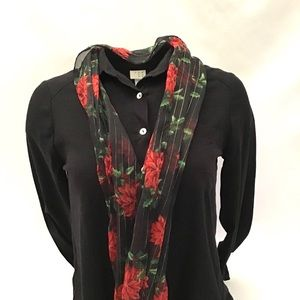 New Holiday Poinsetta Shimmery Fashion Scarf